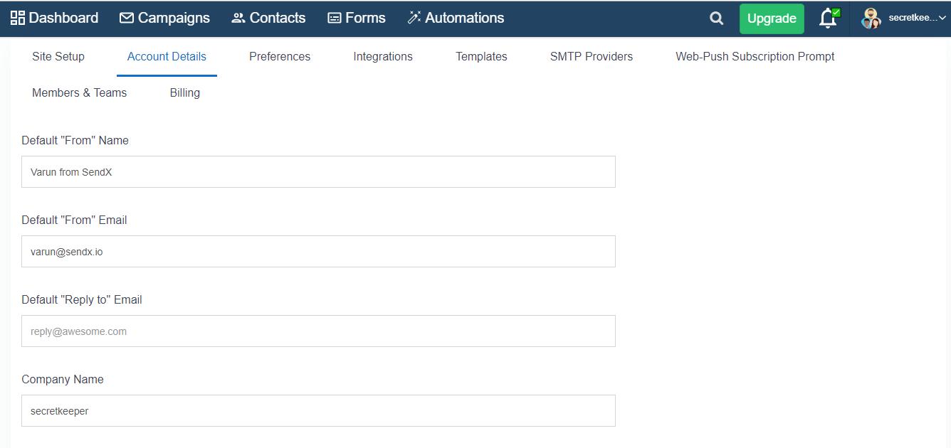 Account Details screen in SendX
