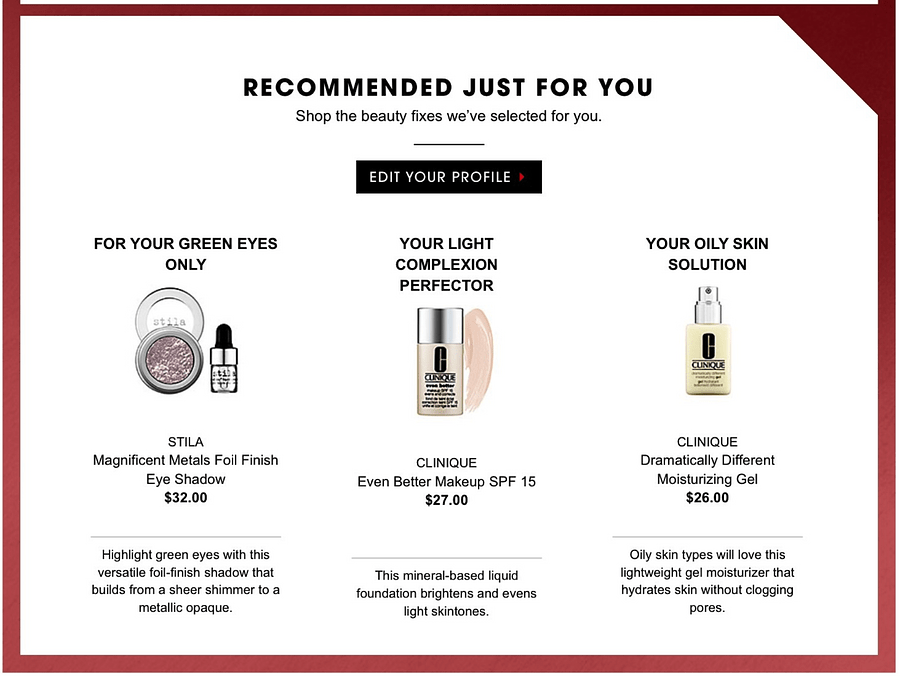 Making right product recommendations via email