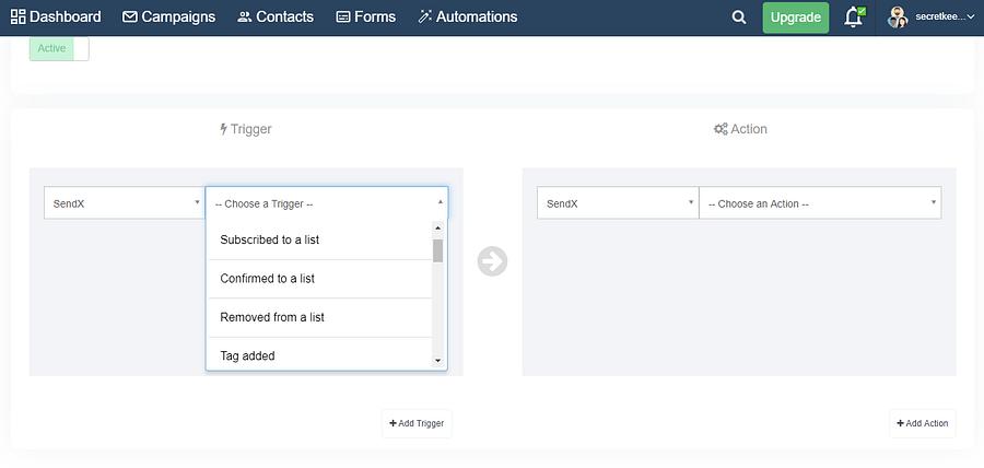 SendX Inbuilt triggers