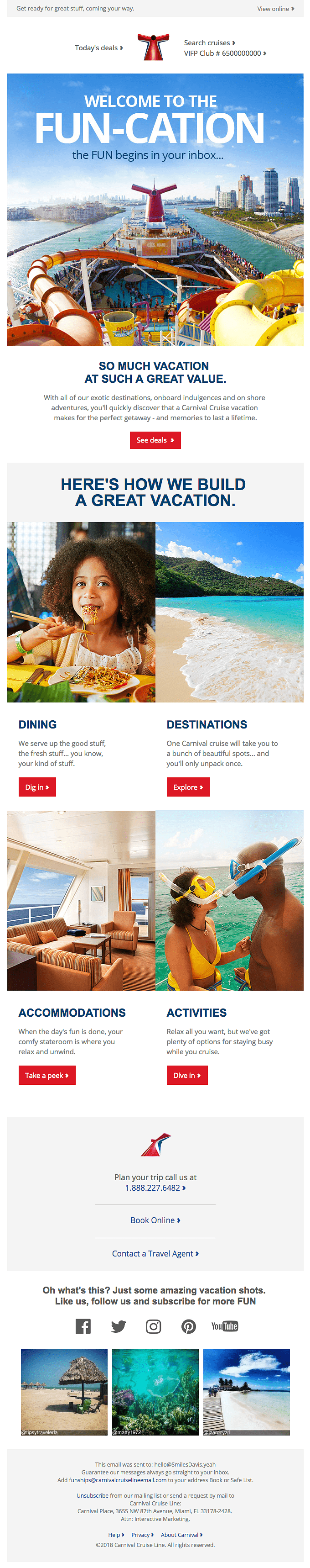 Email marketing for tourism - provide inspiration