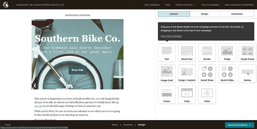 Mailchimp's email editor
