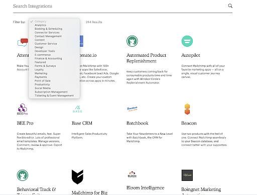 Mailchimp's integrations