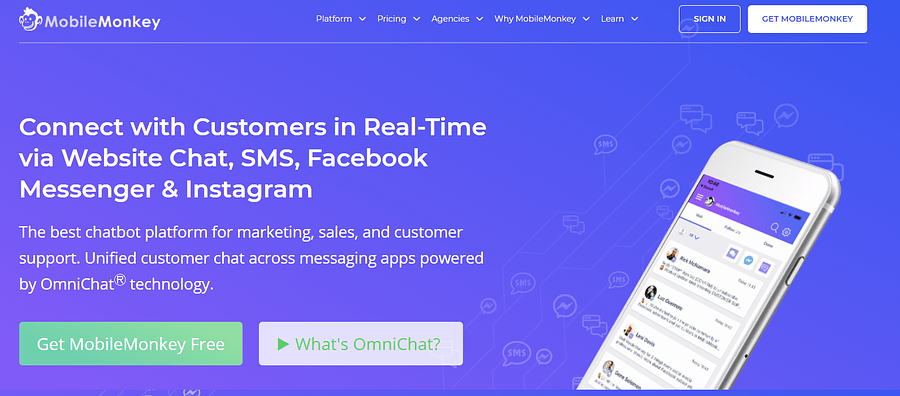 MobileMonkey ecommerce tool