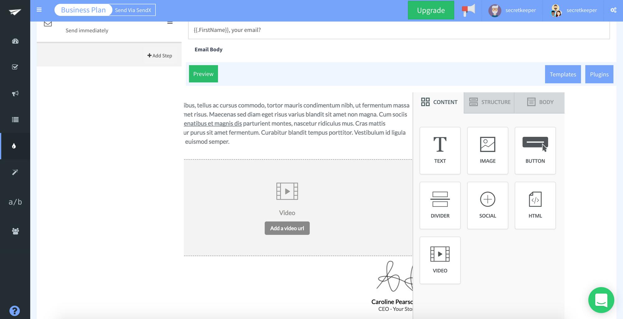 SendX embedding a video inside a drip email