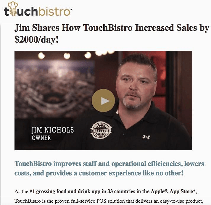 Success story from TouchBistro's customer