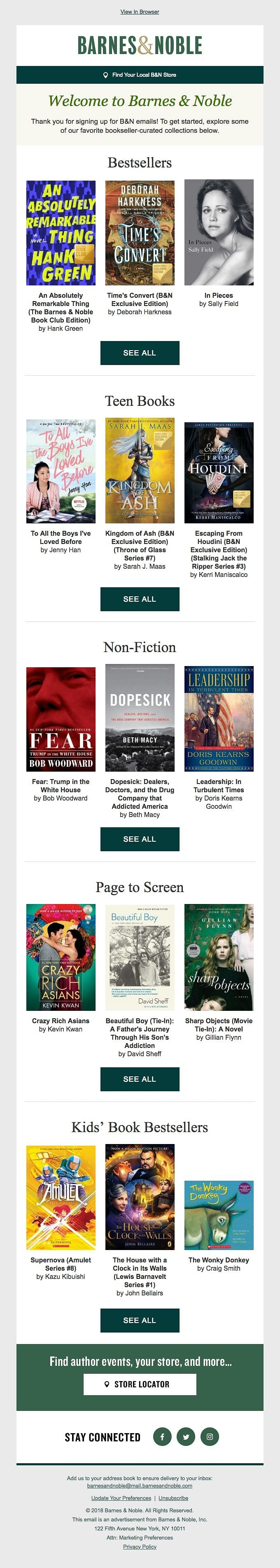 Barnes & Noble getting started welcome email
