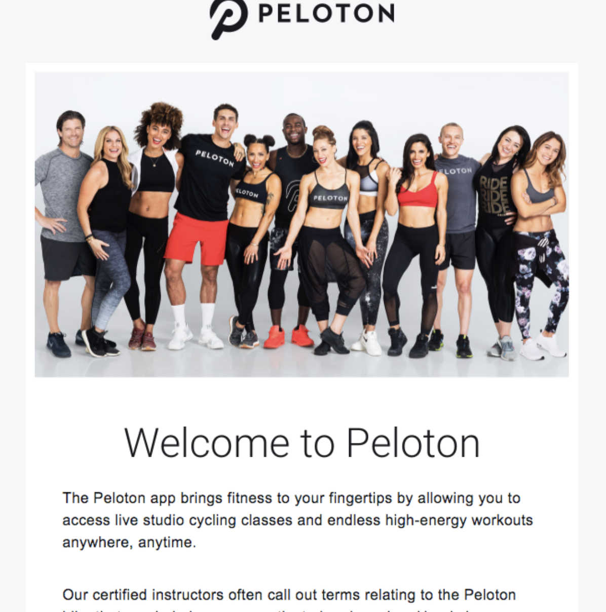 Helping set fitness goals through a welcome email