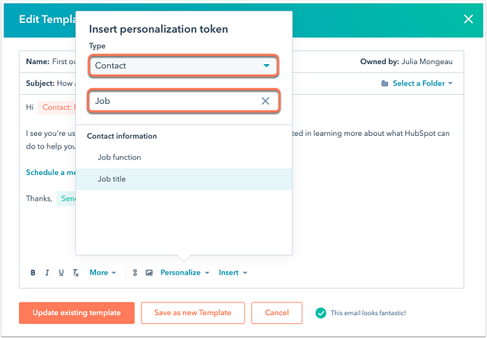 Deeply personalized email using HubSpot