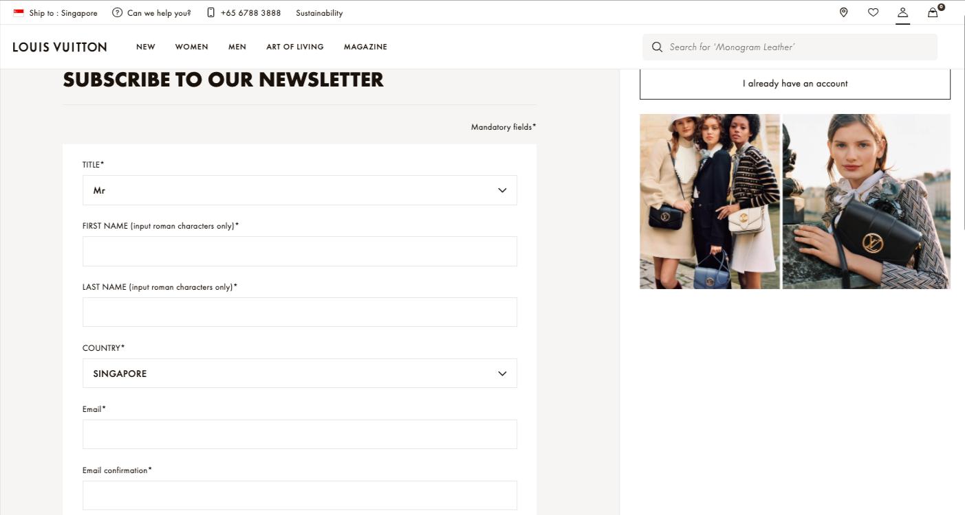 Luxury brand email