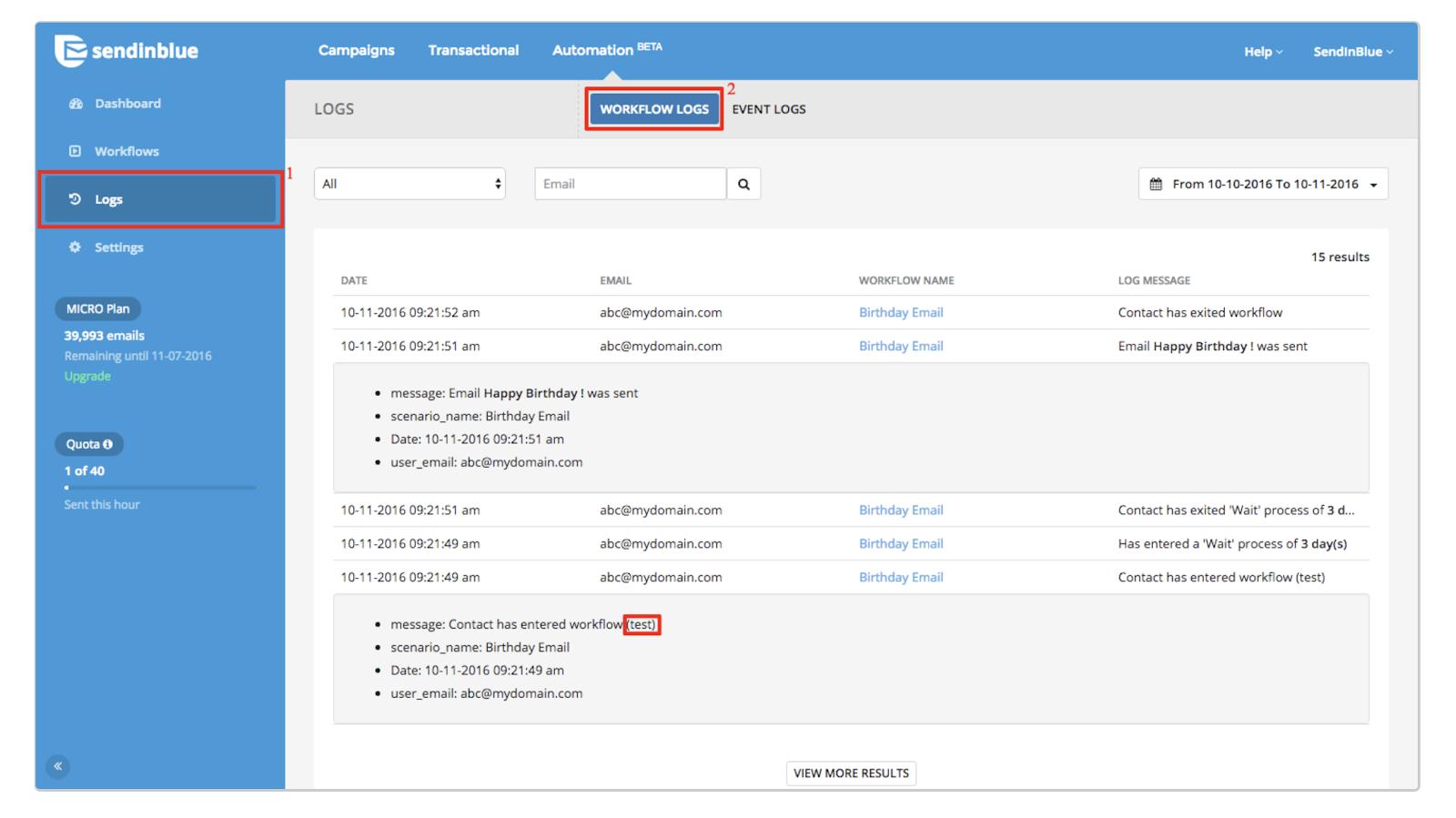 Workflow logs in Sendinblue