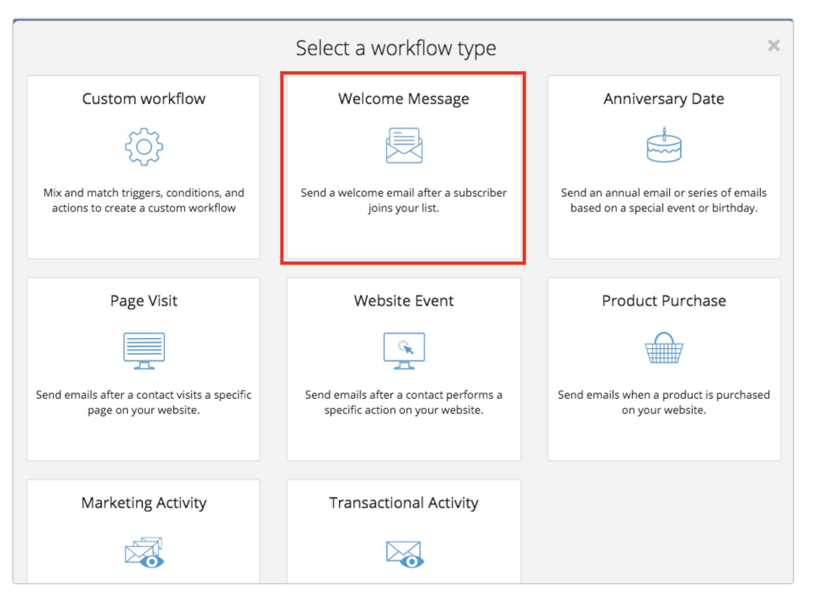 Select a workflow type in Sendinblue