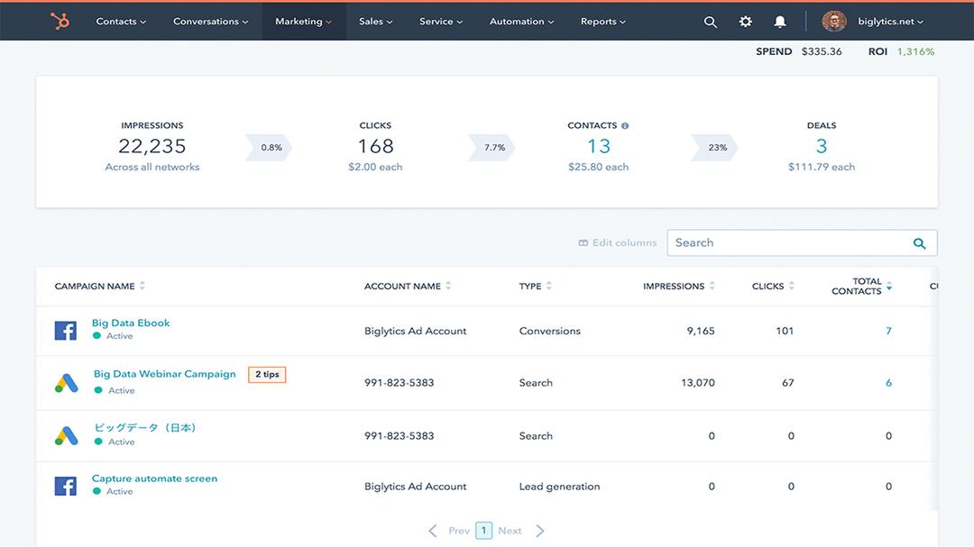 HubSpot reports screen